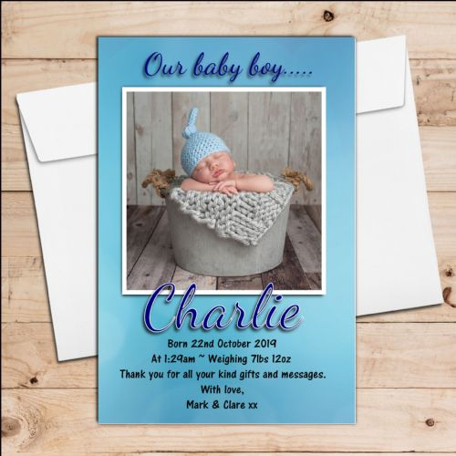 10 Personalised Baby Boy Birth Announcement Thank You PHOTO cards N54